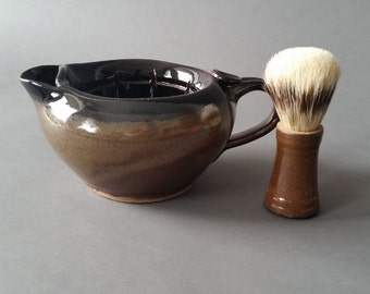 2 Piece Shaving Scuttle and Brush Set Large Gloss Black Brown