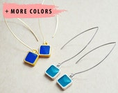 Silver and Gold Square Bezel Drop Earrings - Any Color