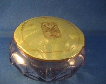 Purple Glass Powder Jar With Celluloid Lid