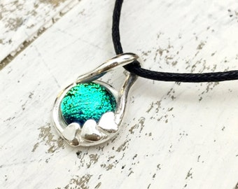 Light Green Dichroic Glass Silver Pendant Necklace