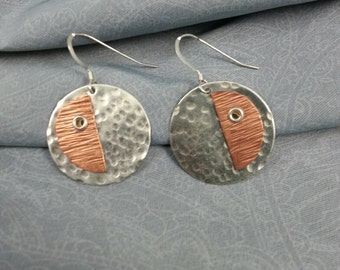 Hammered Mixed Metal Riveted Earrings