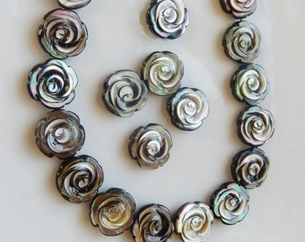 Black faceted  Mother of Pearl flower beads, 15mm