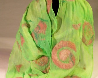 Nuno felt on silk pink and green scarf with spirals