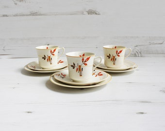 Vintage Teacup and Saucer Trio Set - Orane Geometric Drinking Serving Display Tea Cake Pottery