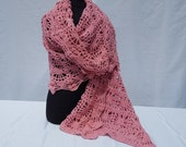 Pink cotton hand crochet stole wrap with spiderweb design READY TO SHIP