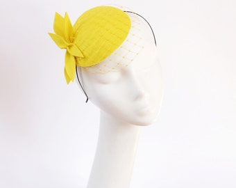 Yellow Lemon Wool Felt  Fascinator, Mini Hat with the Veil