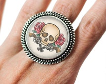 Traditonal Tattoo Skull Roses & Revolvers Glass 25mm Cabochon Silver Double Rope Adjustable Ring