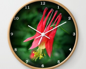 Floral wall clock, Wild Columbine flower, gardener, botanical, floral clock, cottage garden, red green mother's day gift
