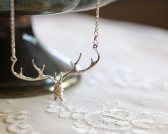 Antler / branch / twig woodland bib necklace, silver tone, twig jewelry, whimsical small statement necklace, Doe Eyed