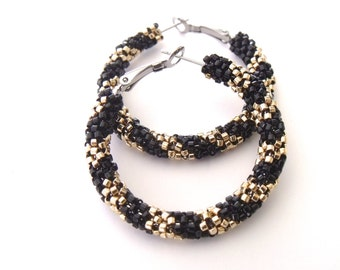 Black and gold hoop earrings | woven black, gold beaded jewelry | beaded hoop earrings | gold beaded earrings | glass seed bead earrings