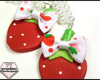 Red Strawberry Necklace, Strawberry with a Bow, Lolita Themed Jewelry