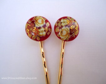 Vintage earring hair grip - Garnet crimson burgundy  red gold foil floral painted art bunch decorative fun jewel embellish hair accessories