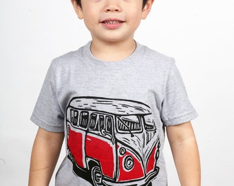 Vintage Red Van on American Apparel Children's T Shirt 2T, 4T, 6T, 8Y, 10Y, 12Y Ready To Ship!!!!