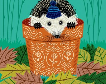 A Hedgehog's Home - Children's Poster - Animal Art - Children's Decor - Nursery Decor - illustration - wall art - poster print