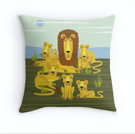 "The Laid Back Lions - illustrated Cushion cover / Throw Pillow cover (16"" x 16"") by Oliver Lake"