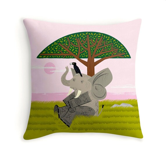 "The Elephant and The Eagle - children's decor - illustrated Cushion cover / Throw Pillow cover (16"" x 16"") by Oliver Lake"