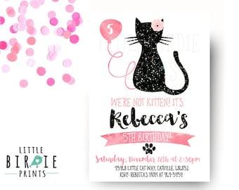 CAT INVITATION Cat Birthday Party Invitation Kitty Cat Birthday Invitation Kitten Birthday Invitation First birthday second birthday