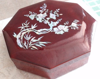 Mother of Pearl Bento Box Cherry Blossoms Japanese Lacquer Jubako Vintage 043016LV