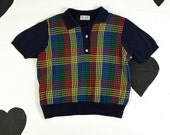 80's plaid knit polo sporty shirt 1980's cute primary rainbow gingham short sleeve golf sweater collared shirt / navy / sport / preppy / M L