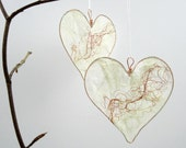 Silk Paper Heart, White with Red Ripple, Valentine gift, wedding decor