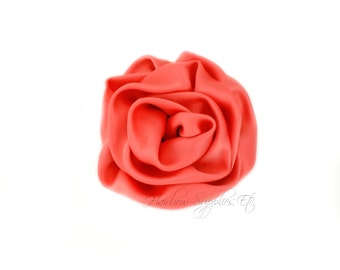 Coral Elegant Rosette Satin Flowers 3 inch Set of 2 - Coral Satin Flowers, Coral Rosettes, Coral Flowers for Hair, Coral Hair Flowers