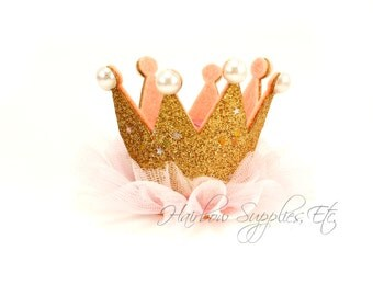 "Gold Princess Crown with Pearls 2"" by 3"" - Gold Crown Baby, Gold Glitter Crown, Gold Baby Crown, Gold Crown"