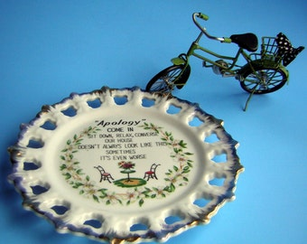Vintage Plate Poem about Messy House APOLOGY - Summer Clearance