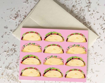 Tacos Card // Gift Set of 6 // Blank Inside // Food Stationary // Chef Gift // Quirky Funny Card // Small Gift // Spring Summer