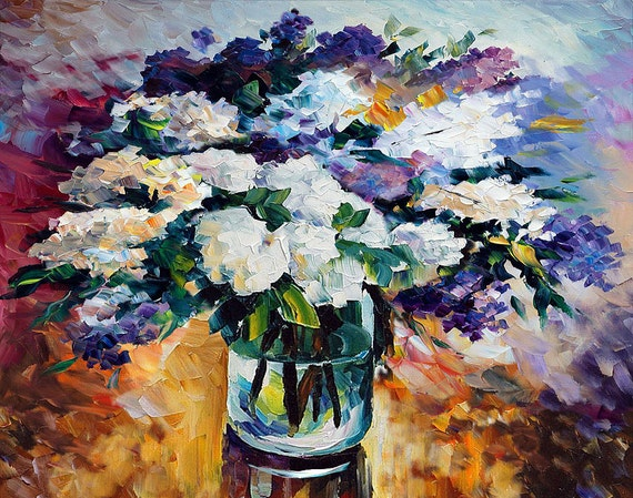 ORIGINAL Oil Painting Colorful painting impasto painting Palette Knife Textured painting flowers Vase painting lilac purple ART Marchella