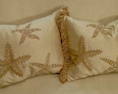 Private Listing for Diane 2 Starfish Throw Pillows Lumbar Silk Designer Fabric Robert Allen Custom Order by Cabin Cove Creations