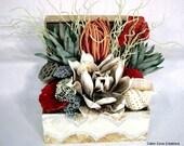 REDUCED! Coastal Floral Arrangement Centerpiece BEACH Tropical shell mosaic Treasure Chest Trunk UNIQUE design by Cabin Cove Creations