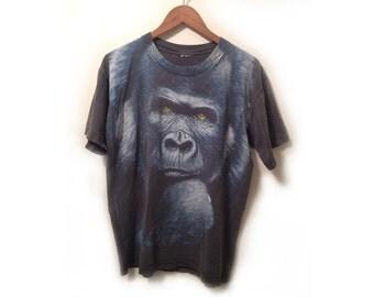 90s Black and Grey Unisex Gorilla Screenprint Weathered T Shirt wear it to honor Harambe