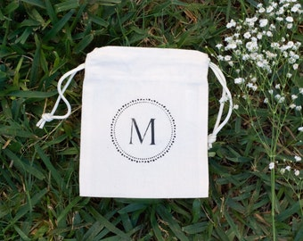 Cotton Canvas Monogram Small Favor Bags, Rustic Wedding Bags, Welcome Bags, Bridesmaids Bags, Party Favor Bags, Wedding Favor Bags
