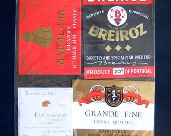 12 Vintage European Wine & Spirits Labels, See All Photos