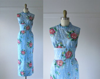 vintage 1960s dress / 60s dress / Painted Flowers