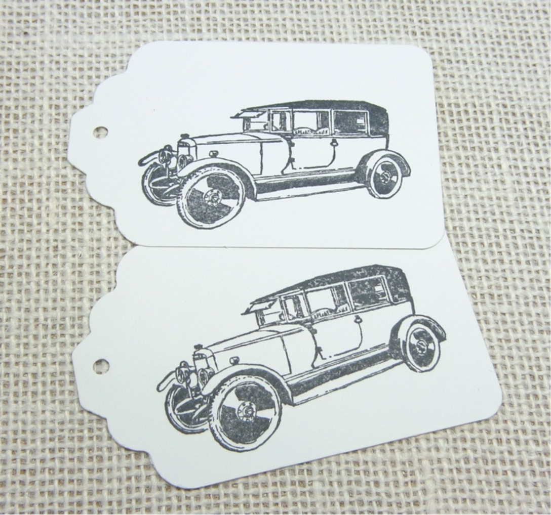 Antique Car Large Gift Tags, Black Cars on White Card Stock, 12 ...