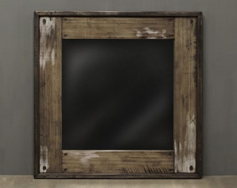 Reclaimed Wood Mirror Bathroom Mirror w White Highlights Earthy Neutrals Rustic Weathered Wood Natural Barn Salvage Powder Room 26 X 26
