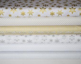 Designer Cotton Bundle of 6 Gold & Silver Sparkle Collection, Riley Blake Designs, Quilting Cotton, Metallic gold/silver print