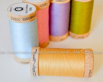 Straw Scanfil Organic Cotton Thread, Color #4802, 300 Yards spool, for seams, overlock, top stitching, embroidery, quilting and more