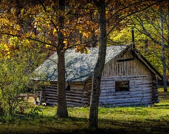 Log Cabin in the West Michigan Woods during Autumn No.0137 A Fine Art Fall Landscape Photograph