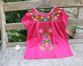 L-XL Bohemian Embroidered Top - Deep Pink