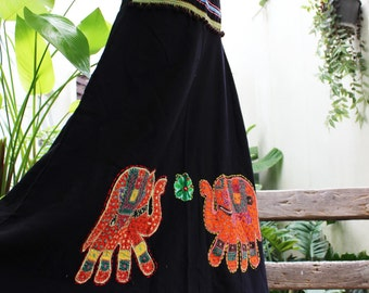 Black Cotton Skirt with Stitched Cotton Elephants MLE1610-05