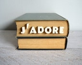 Vintage Pushpins, Bulletin Board Tacks, Word Art, White Ceramic Letters, French Phrase J'Adore Push Pins