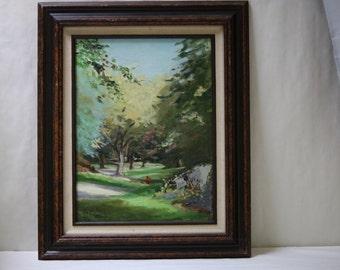 Oil Painting Landscape Green Lush Woods Trees Rocks Blue Sky Framed Vintage