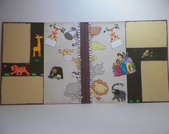 """Premade Scrapbook Page """" Zoo Page """" Handmade"""