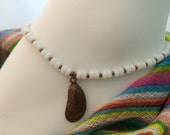 White Sea Glass and Copper Abalone Shell Anklet