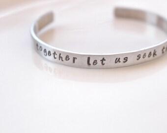 Together Let Us Seek the Heights Aluminum bracelet // Alpha Chi Omega Open Motto Bracelet