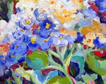 Blue Hydrangia Original Painting 16 x 20 Art by Elaine Cory
