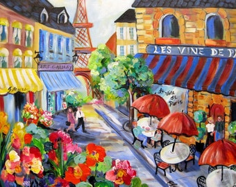"""Paris Cafe  Original Painting Large painting 30"""" x 30"""" fine art by Elaine Cory"""