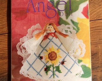 Angel Doll Vintage Counted Cross Stitch Kit with Sunflower - retro cross stitch kit, clothespin doll kit, Christmas ornament angel kit